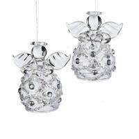 """Club Pack of 12 Glass with Clear Stones Angels Christmas Ornaments 2.2"""""""
