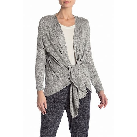 Bobeau Womens Open Front Knit Stretch Knotted Cardigan