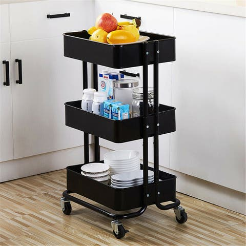 3-Tier Metal Rolling Utility Cart Storage Organizer With Casters Kitchen Cart Black