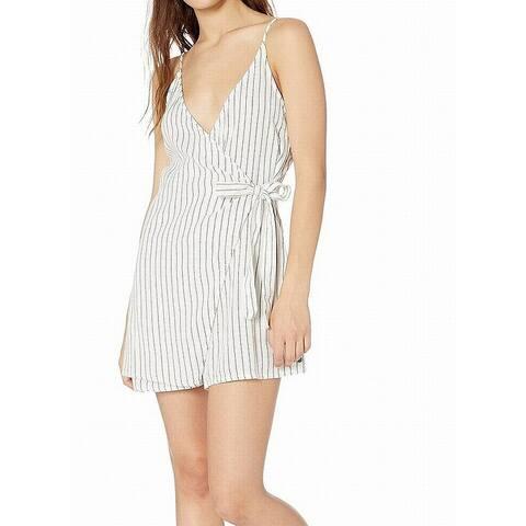 Roxy Women's Romper True White Size Small S Wrap Skirt Vertical Stripe