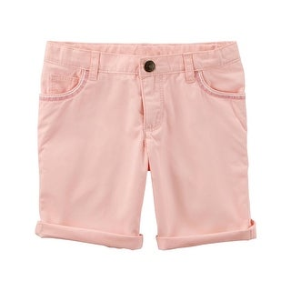 Carter's Little Girls' Embroidered Twill Shorts, Pink