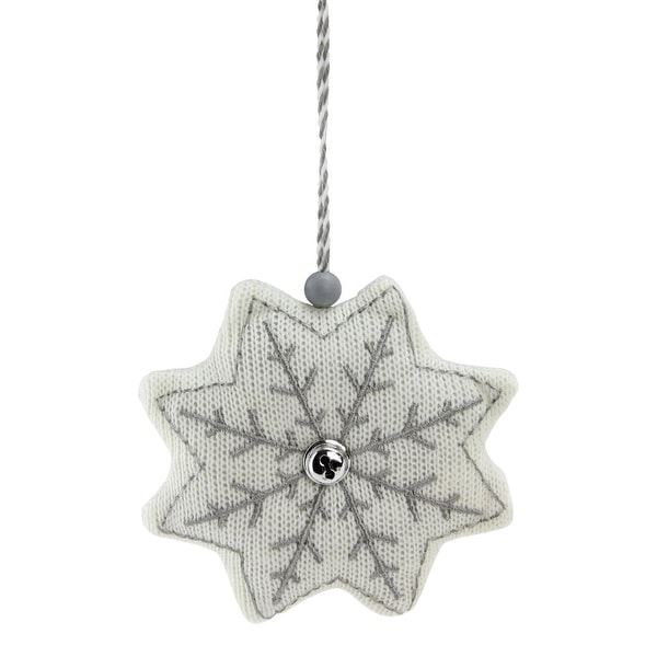 "5"" Winter's Beauty White and Gray Knitted Snowflake Christmas Ornament"