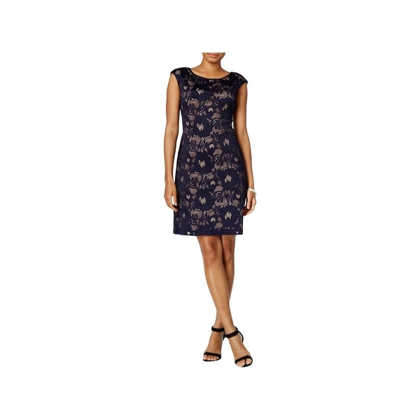 Connected Apparel Womens Cocktail Dress Lace Illusion