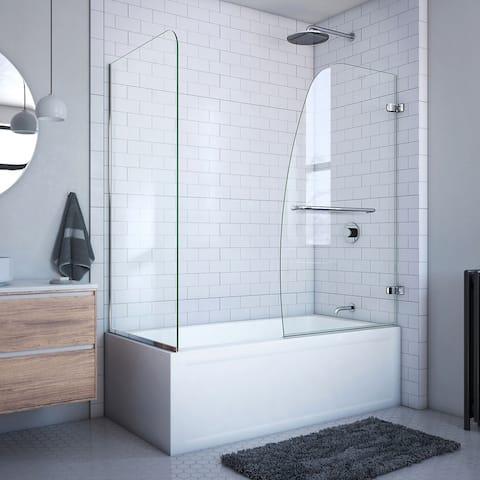 "DreamLine Aqua Uno 56-60 in. W x 30 in. D x 58 in. H Frameless Hinged Tub Door with Return Panel - 30"" x 56"" - 60"""