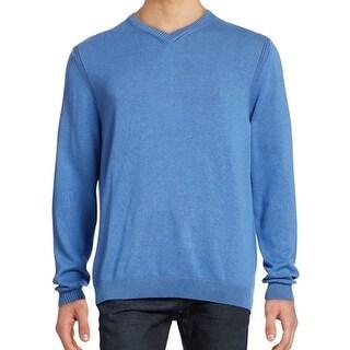Tommy Bahama NEW Blue Mens Size Large L V-Neck Silk Blends Sweater