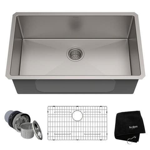 KRAUS KHU100-30 Undermount 30-inch 1-Bowl Stainless Steel Kitchen Sink