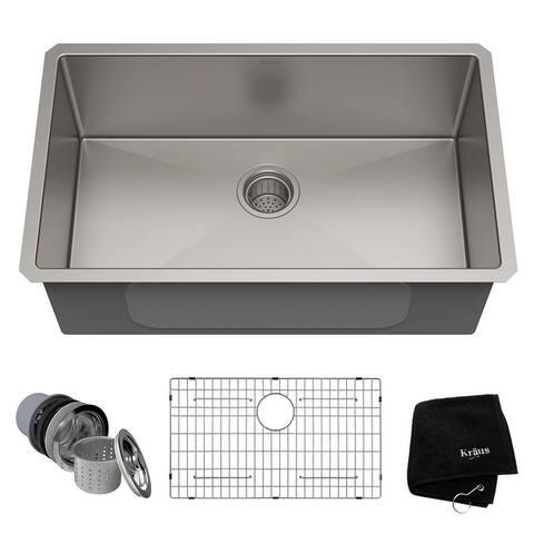 KRAUS Standart PRO Undermount Single Bowl Stainless Steel Kitchen Sink