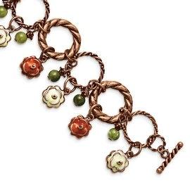 Copper Enamel & Green Acrylic Beads Toggle Bracelet - 7in