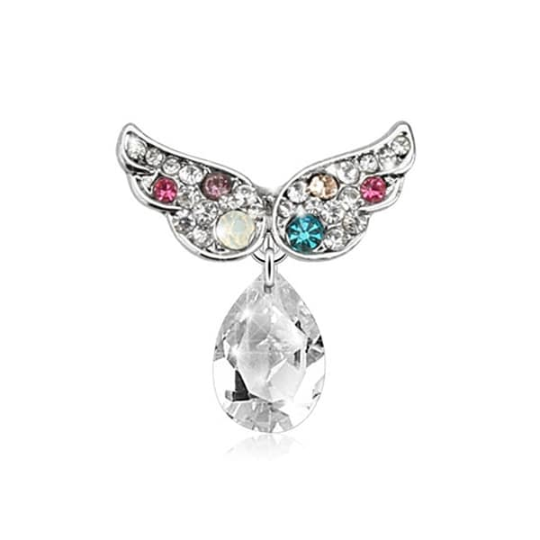 Top Down 316L Surgical Steel Gemmed Angel Wing with Dangle Drop Navel Belly Button Ring