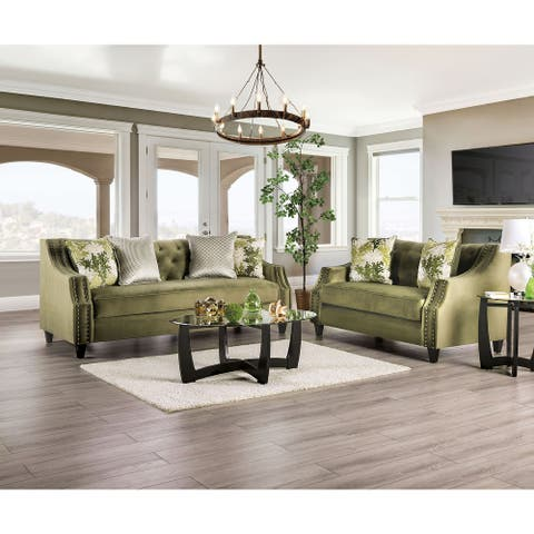 Furniture of America Olie Transitional Green 2-piece Living Room Set