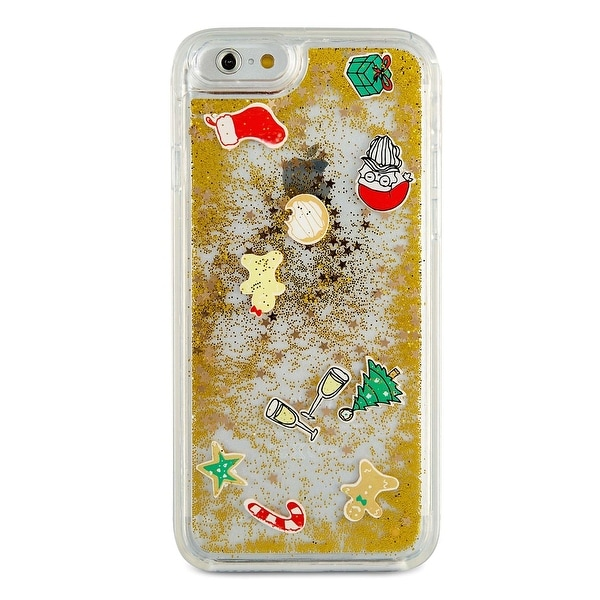 Celebrate Shop Floating Holiday Emoji Hard Case For iPhone 7 Clear and Gold