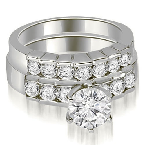 1.80 cttw. 14K White Gold Round Cut Diamond Engagement Set