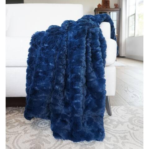 """Millihome Morgan Moonlit Ocean Faux Fur Throw Blanket 50""""x60"""""""