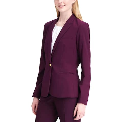 Calvin Klein Womens One-Button Suit Jacket Long Sleeves Business