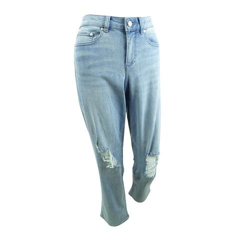 Vince Camuto Womens Cropped Light Indigo Ripped Jeans (27/4, Blue) - 4