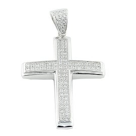 Sterling Silver Cross With CZ Pave Set 33mm Tall Cross Charm By MidwestJewellery