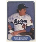 Tom Niedenfuer Los Angeles Dodgers 1982 Fleer Autographed Card  Rookie Card  light signature in bal