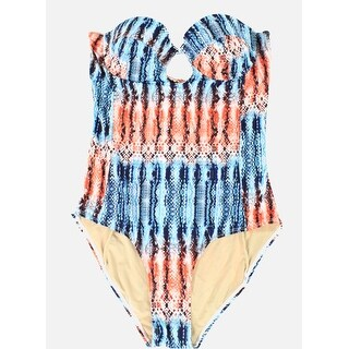 Tart Swim NEW Blue Red Women Medium M Snake Print One-Piece Swimwear