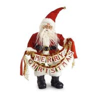 """Pack of 2 Red and White Santa Claus with """"Merry Christmas"""" Banner Tabletop Decoration 16"""""""