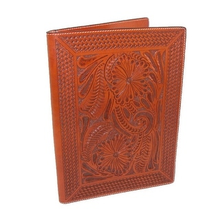3 D Belt Company Leather Basketweave and Floral Hand-Tooled Padfolio