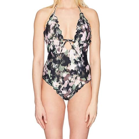 Lucky Brand Green Pink Black Womens Size Small S One-Piece Swimwear