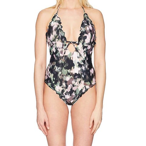 Lucky Brand Womens Swimwear Medium Ruffle Plunge One-Piece
