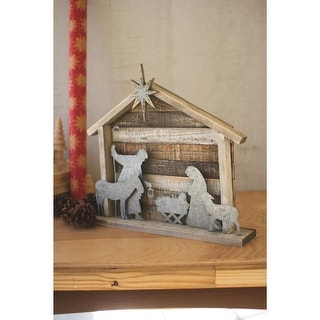 """Link to 34"""" Brown and Gray Wood and Metal Christmas Nativity Similar Items in Christmas Decorations"""