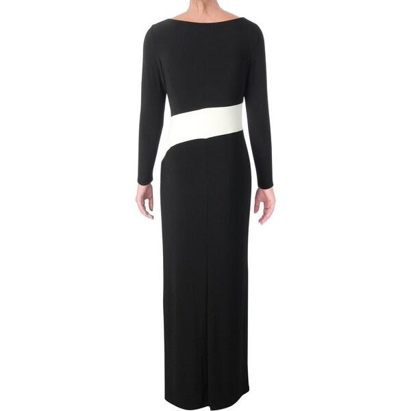 Lauren Ralph Lauren Womens Evening Dress Matte Jersey Two Toned