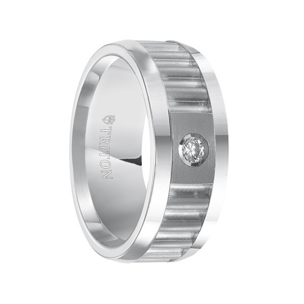 SHAMUS White Tungsten Corrugated Textured Diamond Setting Wedding Ring with Polished Edges by Triton Rings - 9mm