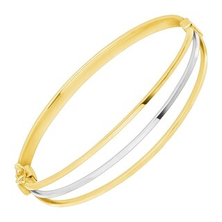 Eternity Gold Two-Tone Triple Band Bangle Bracelet in 10K White & Yellow Gold