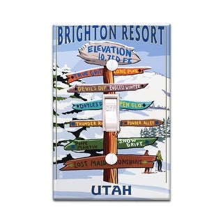 Brighton Resort, Utah - Ski Signpost - Lantern Press Artwork (Light Switchplate Cover)