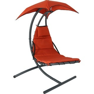 Sunnydaze Floating Chaise Lounger Swing Chair With Canopy, 79 Inch Long,  260 Pound Capacity