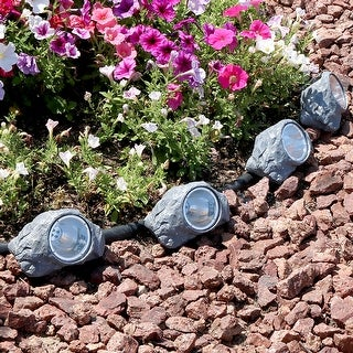 Sunnydaze Solar-Powered Outdoor Rock Garden Accent with White Light - Set of 4