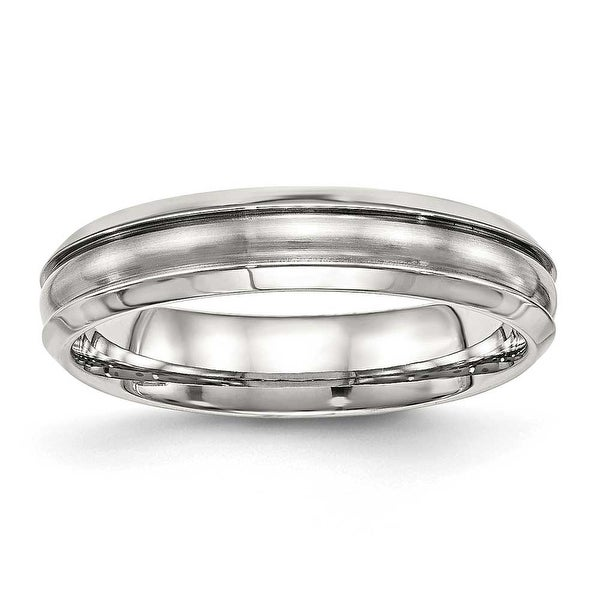 Stainless Steel Brushed and Polished Ridged 5 mm Band Ring - Sizes 6 - 13