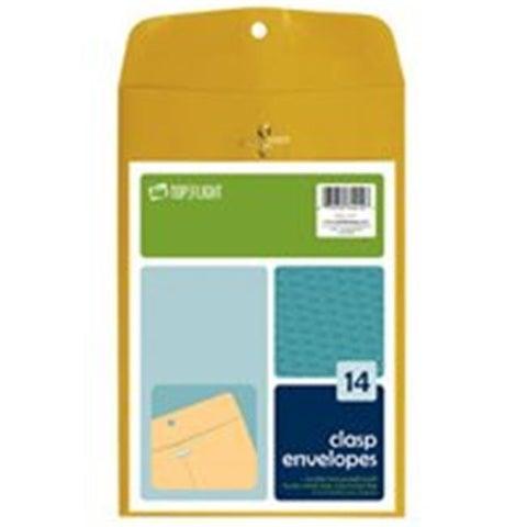 TOP FLIGHT 74412 Kraft Clasp Envelopes, 6.5 x 9.5 In.