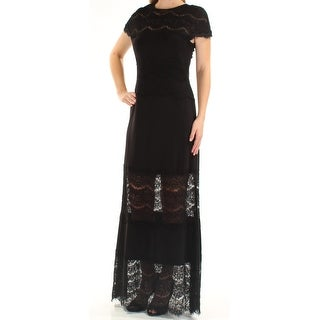 Womens Black Short Sleeve FullLength Sheath Party Dress Size: 6