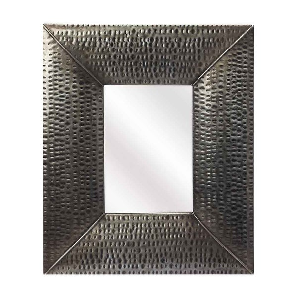 Offex Lehigh Hammered Gray Frame Distressed Iron Wall Mirror - Grey