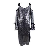 Rachel Roy Women's Sequined Cold-Shoulder Midi Dress (12, Silver) - Silver - 12