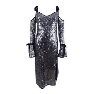 Rachel Roy Women's Sequined Cold-Shoulder Midi Dress (4, Silver) - Silver - 4