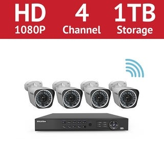 LaView 4 Channel 1080p Wi-Fi IP NVR with (4) 1080p Wi-Fi Bullet Cameras and a 1TB HDD