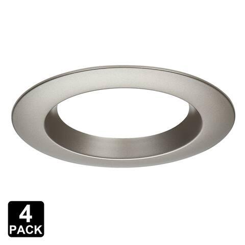 """Interchangeable 4"""" Trim Ring, Round, Satin Nickel, 4 Pack"""