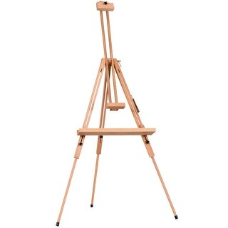 Costway Foldable Wood Tripod Easel Sketching & Painting Tilting Display Stand Art Craft - burlywood