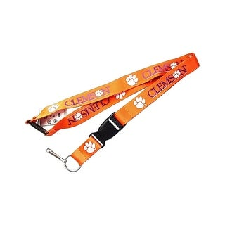 Clemson Tigers Clip Lanyard Keychain Id Ticket NCAA - Orange