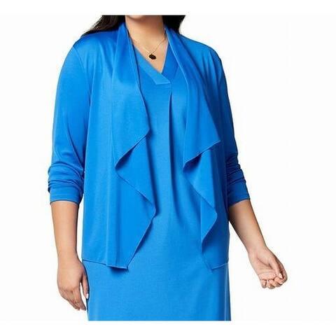 Kasper Women's Blue Size 1X Plus Draped Front Cardigan Sweater