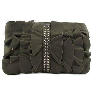 BE&D D Ruffle Kan-Kan Portfolio    Leather  Evening Bag - Green