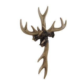 Rustic Deer Antler Wall Cross Lodge Cabin Decor