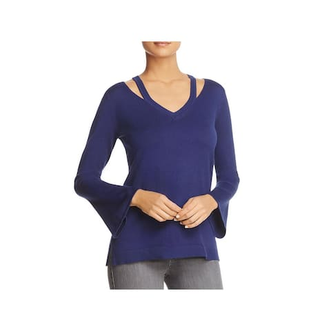 Love Scarlett Womens Pullover Sweater Cut-Out Ribbed Trim - Revel Blue - L
