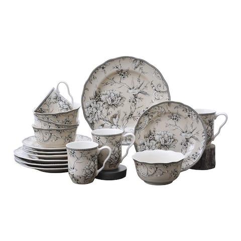 222 Fifth Adelaide 16-Piece Porcelain Dinnerware Set, Antique White