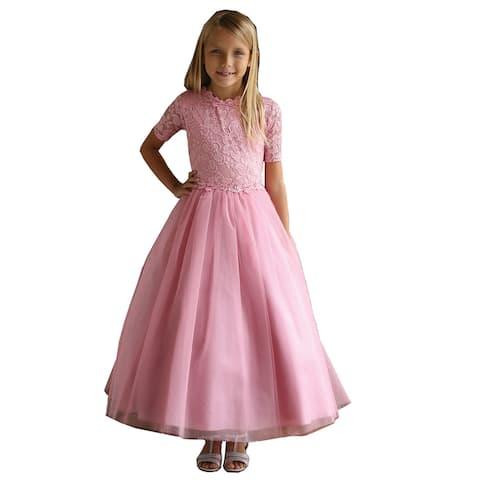Angels Garment Dusty Rose Tulle Lace Junior Bridesmaid Dress Big Girls