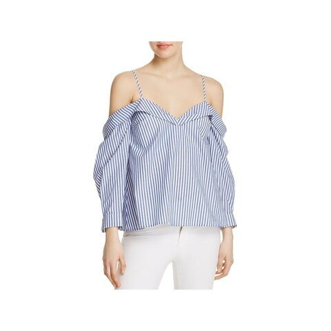 Bardot Womens Casual Top Striped Off the Shoulder
